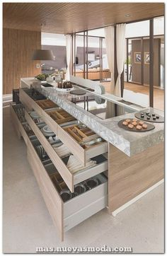 Amazing Kitchen Island Storage Ideas You Need To Know With Regard Remodel. Bathroom Counter Storage Ideas Storage Kitchen Storage Ideas Full Size Of Kitchen Island Storage Ideas Kitchen Counter Organisers… Luxury Kitchen Design, Contemporary Kitchen Design, Best Kitchen Designs, Interior Design Kitchen, Modern Interior Design, Modern Contemporary, Modern Decor, Best Modern House Design, Coastal Interior