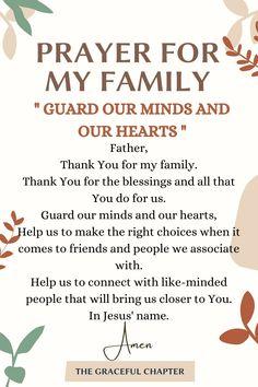 Prayer For My Family, Prayer For My Children, Prayer For Today, Prayer For Parents, Prayer Scriptures, Bible Prayers, Catholic Prayers, Faith Prayer, Short Prayers