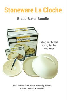 Take your bread baking to the next level with this Stoneware La Cloche Baker Bundle. #clochebaking