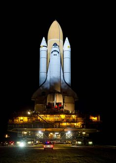 Space Shuttle Atlantis is seen atop the Mobile Launch Platform Mars Mission, Cosmos, Astronomy Science, Space And Astronomy, Space Shuttles, Space Shuttle Challenger, Nasa Space Program, Kennedy Space Center, To Infinity And Beyond