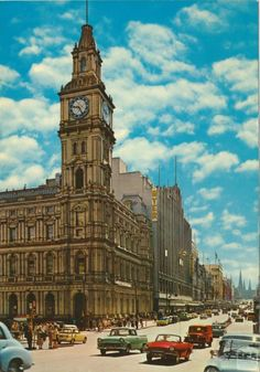 Bourke Street with Elizabeth Street Post Office, Melbourne Places In Melbourne, General Post Office, Elizabeth Street, Egypt Art, Melbourne Victoria, Luxor Egypt, Old Buildings, Melbourne Australia, Old Photos