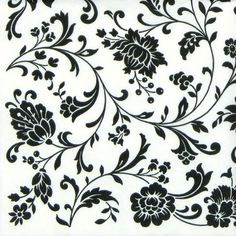 4x Single Table Party Paper Napkins for Decoupage Arabesque White and Black | eBay