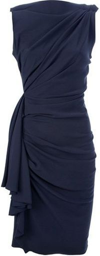 Lanvin draped dress. Love the draping of this navy dress. Can be good for an afternoon lunch or dinner depending on the accessories.
