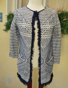 Lucky Brand Fringed Textured Sweater M Geometric Fall Soft Cute Fun Comfy Jeans #LuckyBrand #Cardigan