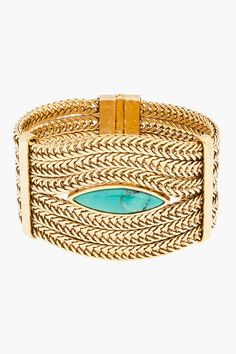 AURELIE BIDERMANN Gold & Turquoise Chain Sunset Bracelet