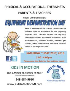 Kids in Motion presents Equipment Demonstration Day ~ May 21!