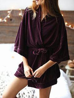 You Fancy Velvet Robe | Retro-inspired, super plush velvet robe featuring waist tie and an oversized, slouchy silhouette.
