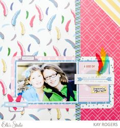 Cousins scrapbooking layout by Kay Rogers using the Elle's Studio Thankful collection and October exclusives.