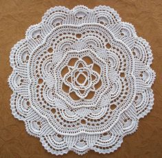 Crochet Pattern for the Round Ribbed Doily Dimensions: About 18 inches in diameter Materials: Two 300 yrd balls of #10 Crochet Cotton Size #8 Steel Crochet hook The three dimensional look of this doily is achieved by working a special stitch called a Cord Stitch. Directions of this stitch as well as several other original stitches used in the doily are included with the pattern