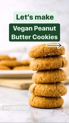 Vegan Dessert Recipes, Dairy Free Recipes, Baking Recipes, Cookie Recipes, Vegan Treats, Vegan Foods, Vegan Dishes, Vegan Peanut Butter Cookies, Tasty