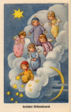 Catch a falling star ~ Angels ~ Liselotte Fabig Distling Christmas Card Images, Vintage Christmas Cards, Retro Christmas, Christmas Pictures, Christmas Illustration, Illustration Art, Illustrations, Christmas Tale, Christmas Angels