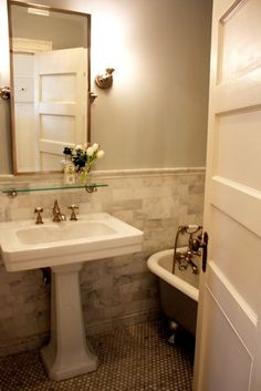 """Hex tile, clawfoot tubs, porcelain pedestal sinks. These are few of the elements that make up our idea of a """"classic"""" bathroom—the kind you might find in a pre-war apartment or a New England farmhouse."""