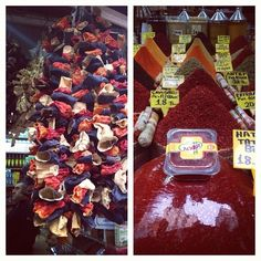 IstanbulEatsTour: Spice Mkt: dried eggplant, peppers, zucchini; b'tiful array of crushed/grd chiles & chile pastes