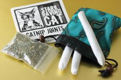 "Three Cat Joints Nirvana Gift Set - with Indian ""stash bag"" and refresher 'nip. All handmade. Only at StarkRavingCat.com"