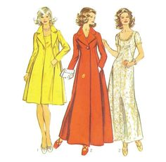 1970s A Line Long or Short Evening Dress and Coat by willynillyart