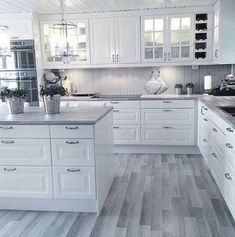 White kitchen is never a wrong idea. The elegance of white kitchens can always provide . Elegant White Kitchen Design Ideas for Modern Home Home Decor Kitchen, Kitchen Flooring, Kitchen Remodel, Interior Design Kitchen, Kitchen Remodel Small, Modern Kitchen Room, Kitchen Room Design, Home Kitchens, Kitchen Renovation