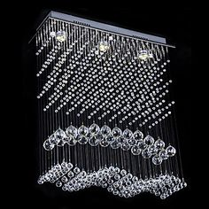 Modern Crystal Ceiling Light with Warm Yellow Light Source – USD $ 264.99