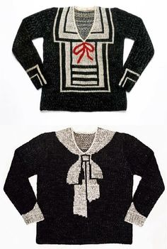 Elsa Schiaparelli. Her famous intarsia sweaters. Schiaparelli is attributed with inventing or at the very least popularizing intarsia knitting.