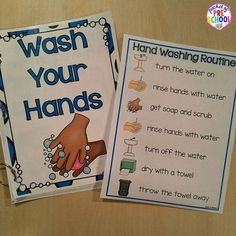 Hand Washing Routine, Book, Posters, & Song by Pocket of Preschool Book Posters, Poster S, Poster Ideas, Classroom Routines, Preschool Classroom, Classroom Decor, Beginning Of School, Pre School, Classroom Organization