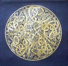 Brass rubbing of a design from the Book of Kells.