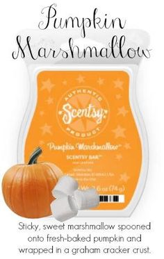 Wickless candles and scented fragrance wax for electric candle warmers and scented natural oils and diffusers. Shop for Scentsy Products Now! Fall Scents, Graham Cracker Crust, Baked Pumpkin, Scented Wax, Smell Good, Wax Melts, Marshmallow, Scentsy Fragrances, Scentsy Bar