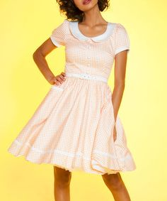 Another great find on #zulily! Pink & White Dee Dee Fit & Flare Dress - Plus Too #zulilyfinds