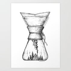 Buy Chemex Coffee Art Print by wildwither. Worldwide shipping available at Society6.com. Just one of millions of high quality products available.