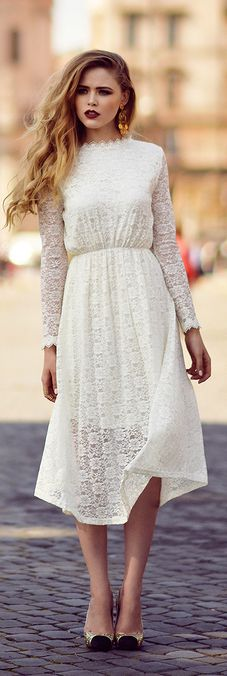Vintage Dress - Kayture, fashion, fashionable, style, stylish, dress, white, pure, shoes, ivory, lipstick