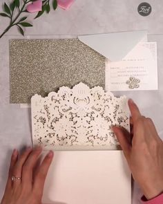 formal elegant ivory and champagne gold glittery pocket wedding invitations with pearl - Hochzeitseinladung Pocket Wedding Invitations, Diy Invitations, Elegant Wedding Invitations, Invitation Design, Wedding Stationery, Formal Wedding Invitations, Invitation Ideas, Invites, Wedding Cards