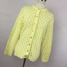 Vintage Billie Jo Cardigan Sweater Small Medium Yellow Button Down Front Lightweight Texture Knit Womens H7 by AmazingTasteVintage on Etsy