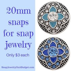 20mm snaps for snap jewelry, add these interchangeable snaps to a piece of base jewelry. Adding new snaps to my website, weekly. Sign up for my emails and get password access to all new items just posted and coupon codes to save on your order. www.SnapJewelryOnABudget.com https://www.facebook.com/groups/SnapJewelryOnaBudget/ 1000s of snaps and jewelry bases to choose from.