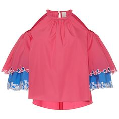 Peter Pilotto     Layered Cutout Blouse ($995) ❤ liked on Polyvore featuring tops, blouses, pink, cutout tops, eyelet blouse, cut out sleeve top, halter top and halter neck blouse