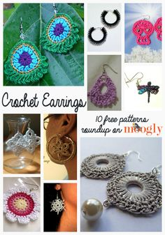 "I didn't find these patterns to be ""free"" ~ least not the ones I looked at. I'm giving it a go using the photos. ;)   ***     Free Crochet Earrings Roundup on Moogly"