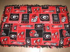 Georgia Bulldogs Fleece Blanket. Easy to make and best gift to give! ;)