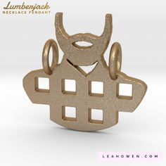 NEW Lumberjack Necklace Pendant (Pendant Only) in Matte Gold Steel | Other Metals & Finishes Available | Celebrate the lumberjack or beard in your life! | Or maybe just your love for plaid or flannel? | Dainty, adorable 3D printed jewelry | You can find it on LeahOwen.com
