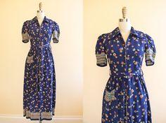 1940s Dress Vintage 30s 40s Dress Floral Novelty by jumblelaya
