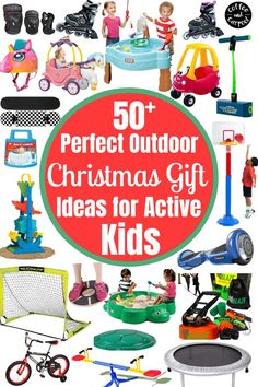 Does your child need extra ways to burn off energy? Looking for gifts that will encourage your children to play outside and be more physically active? You need to check out this big list of 50 gifts that will help your children grow and play more outside! Holiday gifts for kids to encourage kids to be more active outside #getactive #getkidsactive #getkidsoutside #coffeeandcarpool #holidaygiftguides #holidaygifts #giftsforkids #holiday #coffeeandcarpool