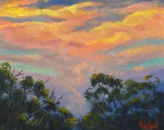 Original oil painting - Sunset Sky after the Storm #Impressionism