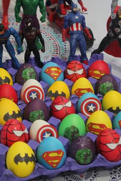 Weve been talking about the superheroes eggs since last week non stop! nady cant wait to decorate them the excitement is invading his heart so thrilled and happy he is up today a egg decorating for kids and adults Easter Egg Dye, Easter Egg Crafts, Marvel Easter Eggs, Making Easter Eggs, Art D'oeuf, Funny Eggs, Funny Easter Eggs, Cool Diy, Easter Egg Designs