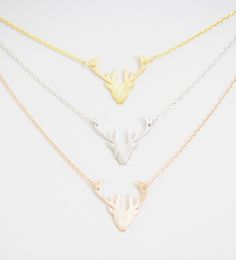 Deer necklaces in gold, silver and rose gold! Great prices and the perfect gift for her! Deer hunter! antlers!