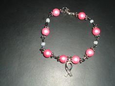 Hope - Breast Cancer Awareness Free-Flowing Bracelet - Pink Satin. $6.00, via Etsy.