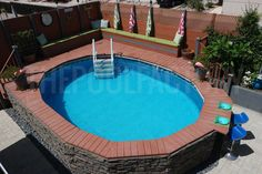 Backyard Hill Landscaping, Small Backyard Pools, Small Pools, Backyard Ideas, Backyard Projects, Pool Ideas, Semi Above Ground Pool, Above Ground Swimming Pools, In Ground Pools