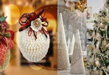 Decoración navideña con perlas