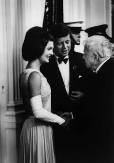 Jackie Kennedy wearing an Oleg Cassini Grecian style gown at the White House dinner for Nobel Prize Laureates.