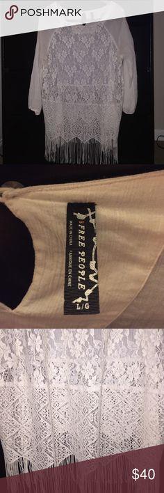 Free People tunic Lace on lace on fringe! Beautiful bohemian Free People tunic. Free People Tops Tunics