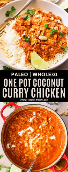 This creamy coconut chicken curry is a one pot dish that takes just 30 minutes to make! It's dairy free using coconut milk, and tastes wonderful over rice or cauliflower rice. #paleo #whole30 #onepotmeal Primal Recipes, Real Food Recipes, Chicken Recipes, Healthy Recipes, Curry Recipes, Coconut Curry Chicken, Chicken Curry, Keto Chicken, Paleo Dinner