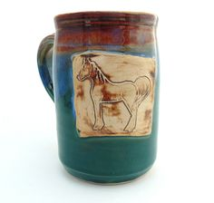 Handmade Pottery Mug Horse teal and brown Ready To Ship by Jewel Pottery by jewelpottery on Etsy