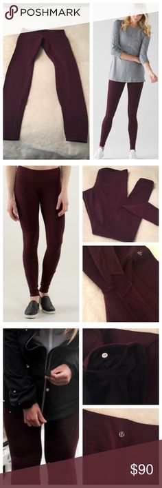 "Lululemon Bordeaux/drama black reversible WU Lululemon Bordeaux/drama black reversible wunder unders. Full length, roughly 30"" long. Great condition. Fully reversible. Some piling between the thighs from normal wear (please see photos). No trades please. lululemon athletica Pants Leggings"