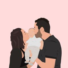 Couple Illustration, Portrait Illustration, Digital Illustration, Cute Couple Comics, Cute Couple Art, Dibujos Pin Up, Evil Eye Art, Baby Boy Photography, Photo Couple