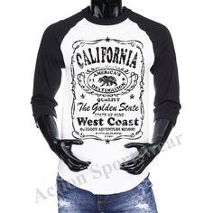 3/4 Sleeve Baseball Raglan Jersey Tee Cali California Republic Mens T-shirt Tee